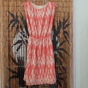 Michael Kors sz 4 print dress peachy salmon tan